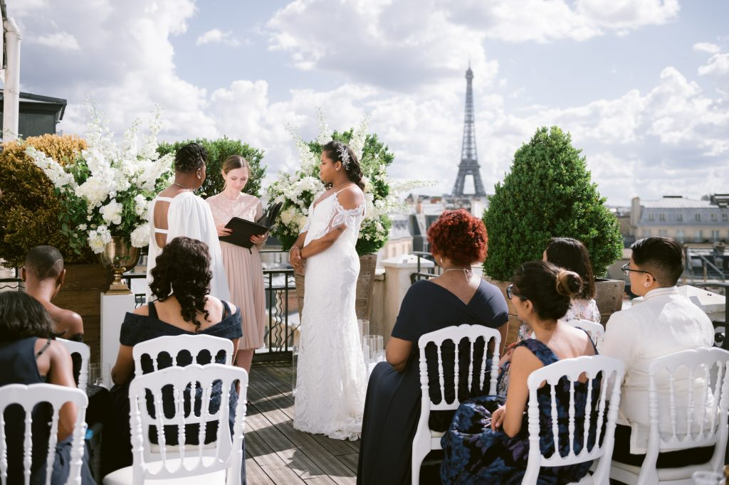 rooftop wedding ceremony in hotel marignan