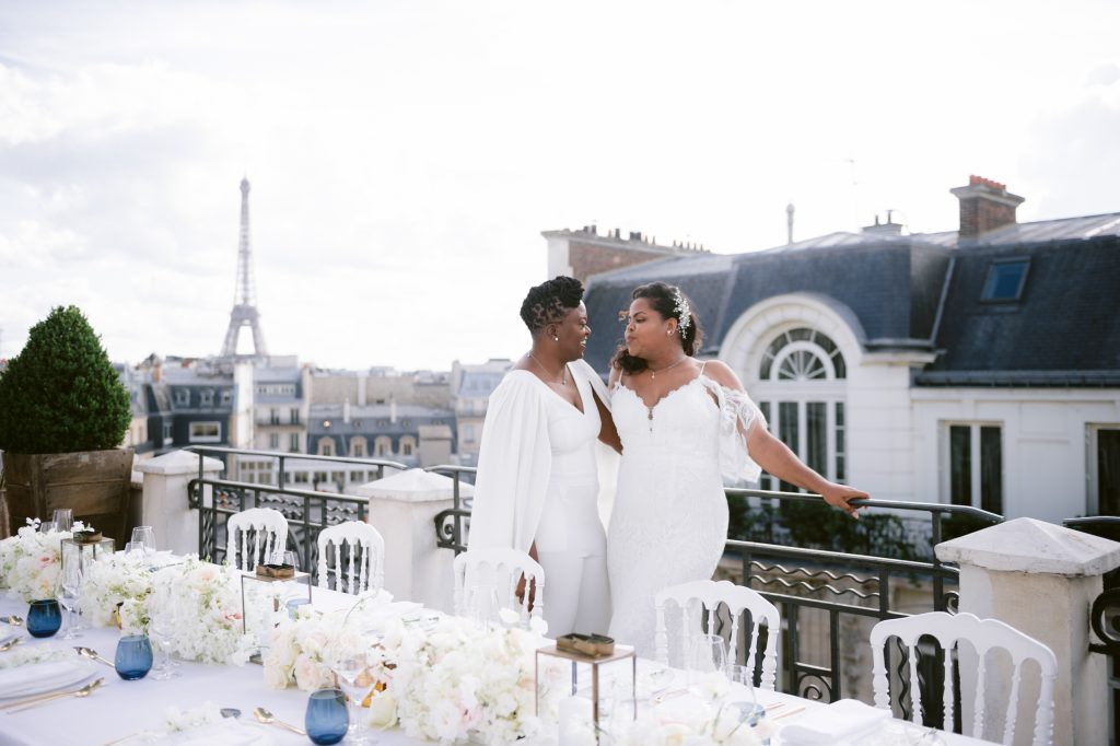 same sex rooftop wedding in paris